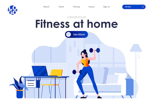 Fitness at home flat landing page design web template