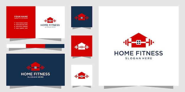 Fitness home logo and business card template