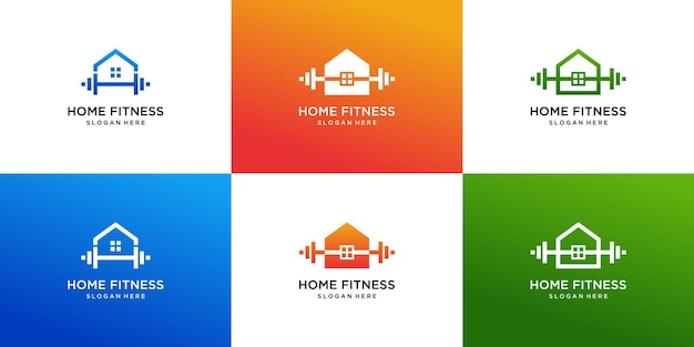 Fitness home logo collection with gradient color design