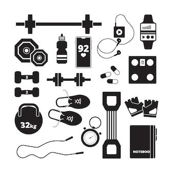 Значок фитнеса. спорт здоровые символы аэробика силуэты питание векторные иконки. фитнес-оборудование, гантели для бодибилдинга