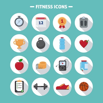 Fitness icons set in flat style