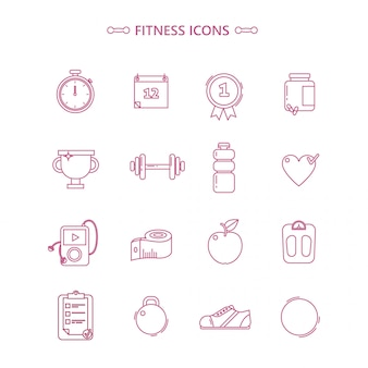 Fitness icons set in otline style