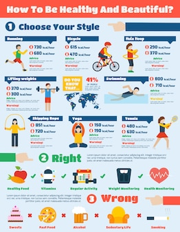 Fitness infographics set