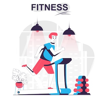 Fitness isolated cartoon concept man running on treadmill sports exercising at gym workout