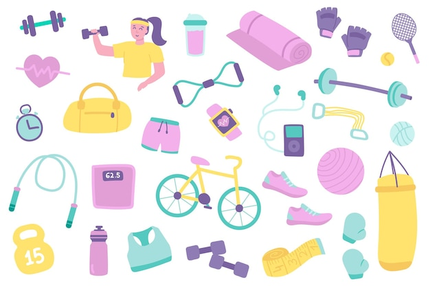 Набор изолированных объектов фитнес коллекция женщина упражнения с гантелями сумка для тренажерного зала