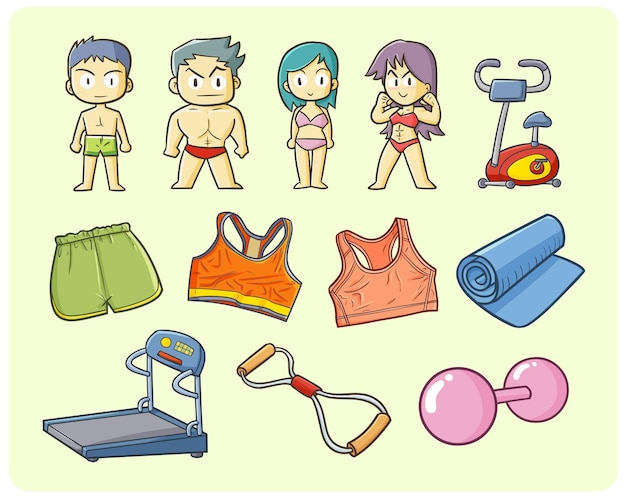 Fitness items, men and women in simple doodle style