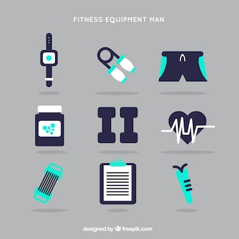 Fitness kit man in a flat style