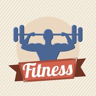 Fitness label over beige background vector illustration