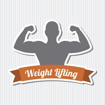 Fitness label over gray background vector illustration