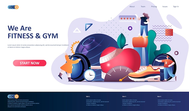 Fitness  landing page template  illustration