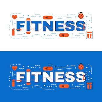Фитнес-надпись с плоской линейкой с иконками