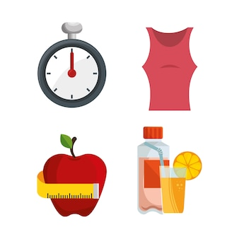 Fitness lifestyle elements icons