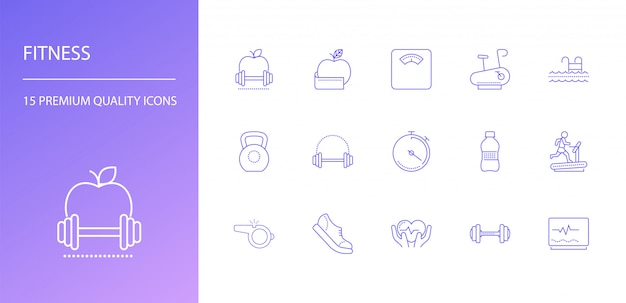 Fitness line icons set.