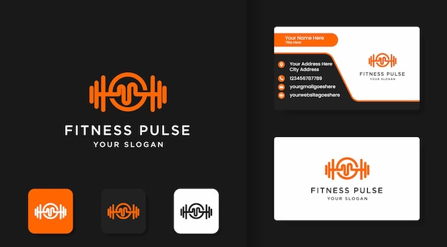 Fitness logo, barbell with music pulse handle and business card design