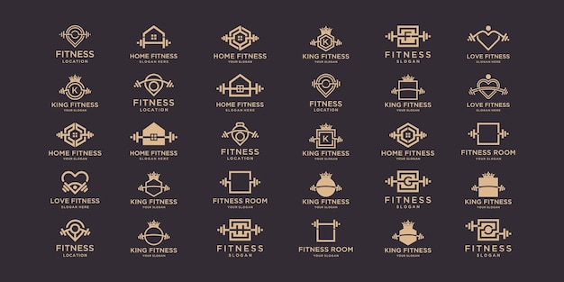 Fitness logo and icon set