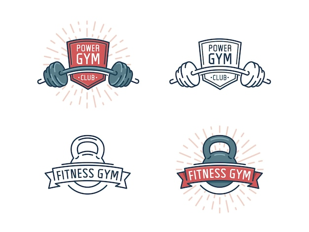 Fitness logo set. power gym club, sport emblem with barbell.