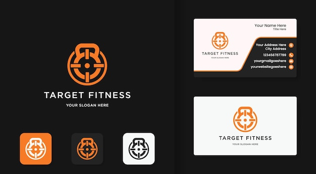 Fitness logo, target symbol in barbell and business card design