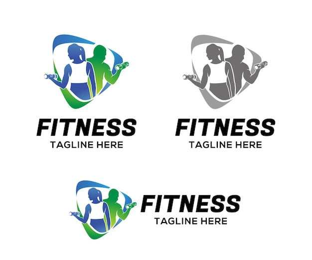 Fitness logo template design Premium Vector