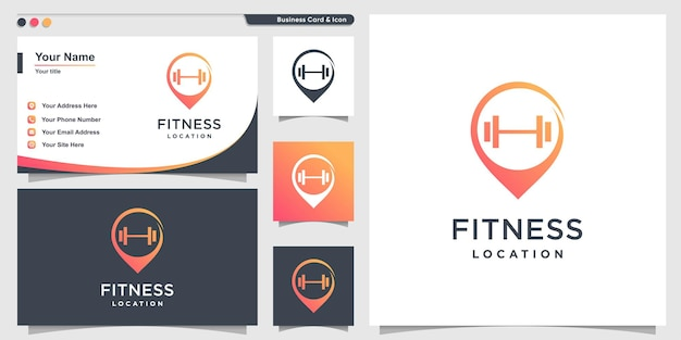 Fitness logo with pin point style and business card design health power energy premium vector