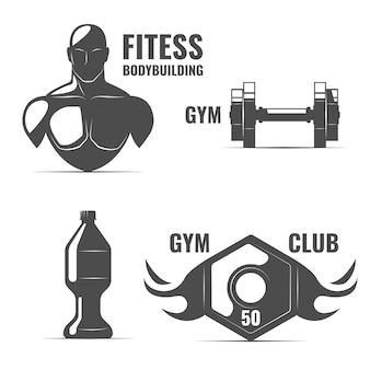 Fitness logos and arts set with bodybuilder.
