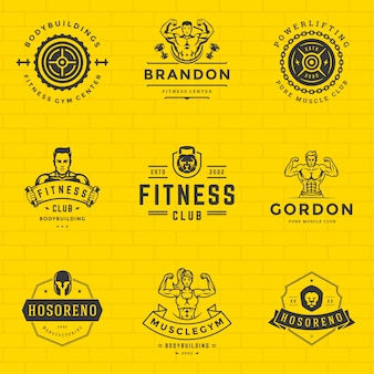 Fitness logos and badges design sport equipment and people set vector illustration