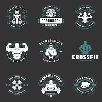 Fitness logos and badges design sport equipment and people set vector illustration.