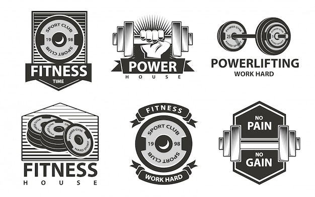 Fitness logos set in monochrome style