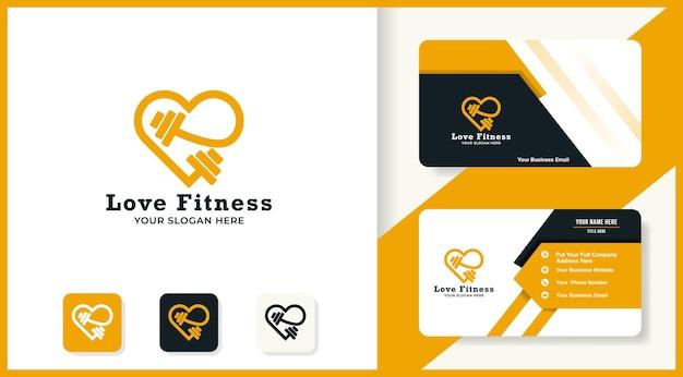 Фитнес любовь логотип и дизайн визитной карточки