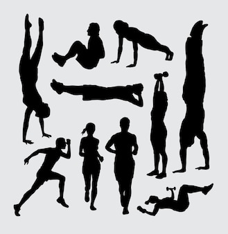 Fitness male and female action silhouette