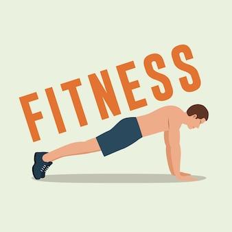 Fitness man doing push-ups