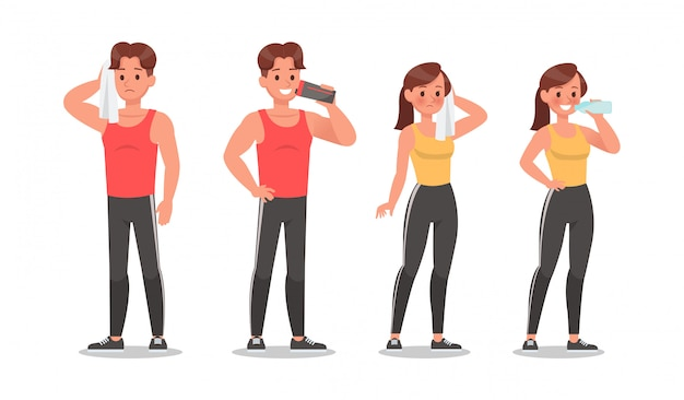 Fitness man and woman doing exercise character set