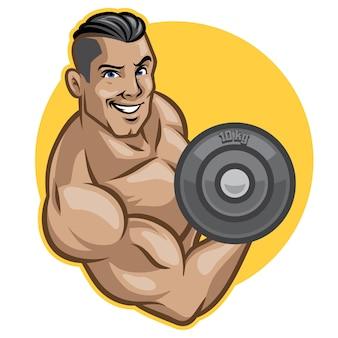 Fitness men lifts barbell
