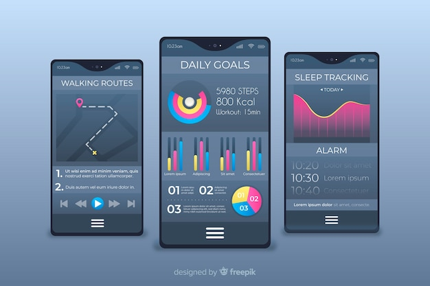 Fitness mobile app infographic flat design