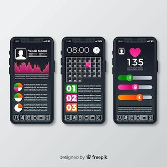 フィットネス携帯アプリインフォグラフィックフラットデザイン