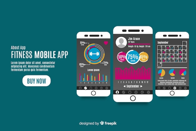 Fitness mobile app infographic template flat style