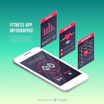Fitness mobile app infographic template isometric style