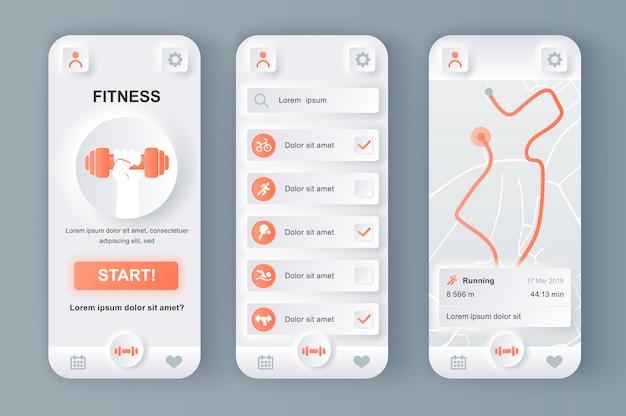 모바일 앱을위한 피트니스 모니터 고유의 동형 디자인 키트.