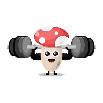 Фитнес гриб милый персонаж талисман