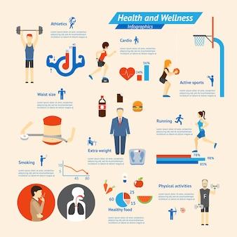 Фитнес, питание и здоровье инфографика