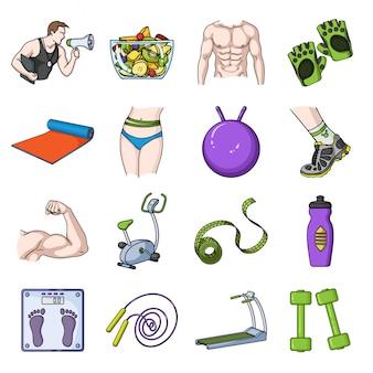 Фитнес спорт мультфильм установить значок. изолированные мультфильм набор значок спортивные упражнения. фитнес оборудование иллюстрации.