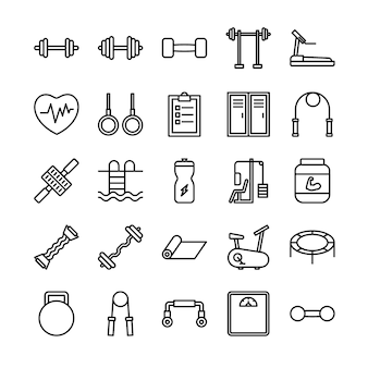 Fitness outline icon set