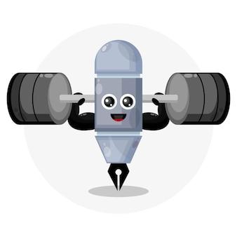 Fitness pen cute character logo
