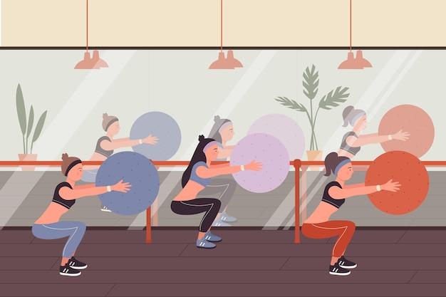 スポーツトレーニングベクトルイラストでフィットネスの人々。スポーツウェアスクワットのキャラクターの漫画の陽気な女性グループ