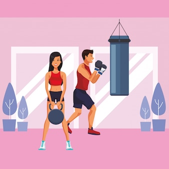 Fitness people cartoon