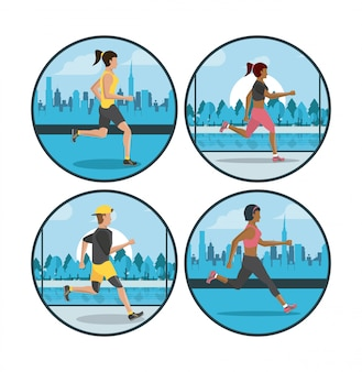 Фитнес люди бегают круглые значки
