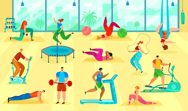 Fitness people training body in gym illustration