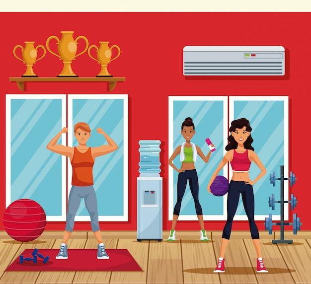 Fitness people training inside gym