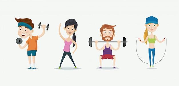 Фитнес люди тренируются.
