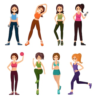 Fitness people workouts set cute cartoon style