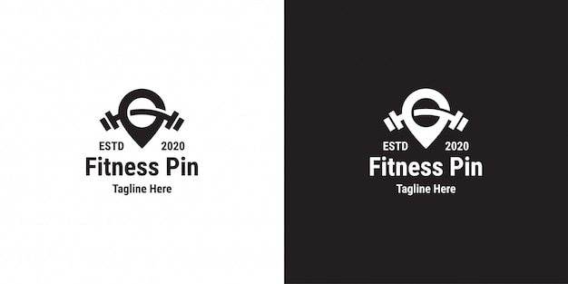 Fitness pin logo design template